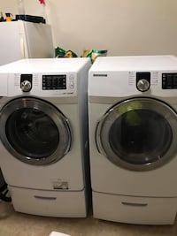 Samsung washer and dryer. Electric. Front loaders. Great working condition nothing wrong with them. No low offers. Come with pedestals. We can deliver for a fee. Thanks!  1296 mi