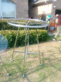 round gray metal framed glass top patio table Fort Worth, 76137