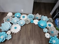 Grey blue and white Paper flowers Lynwood, 90262