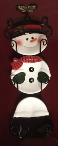 Snowman Plates on Wall Rack For Sale Burlington