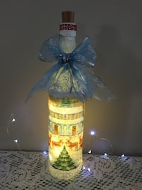 Beautiful hand decorated bottle light