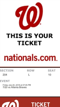 Nationals tix for tonight's game!  Arlington, 22204