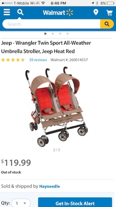 baby's black and red tandem stroller