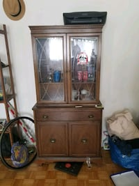 brown wooden framed glass display cabinet Toronto, M4Y