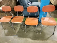 Set of 4 vintage chrome and plastic school chairs