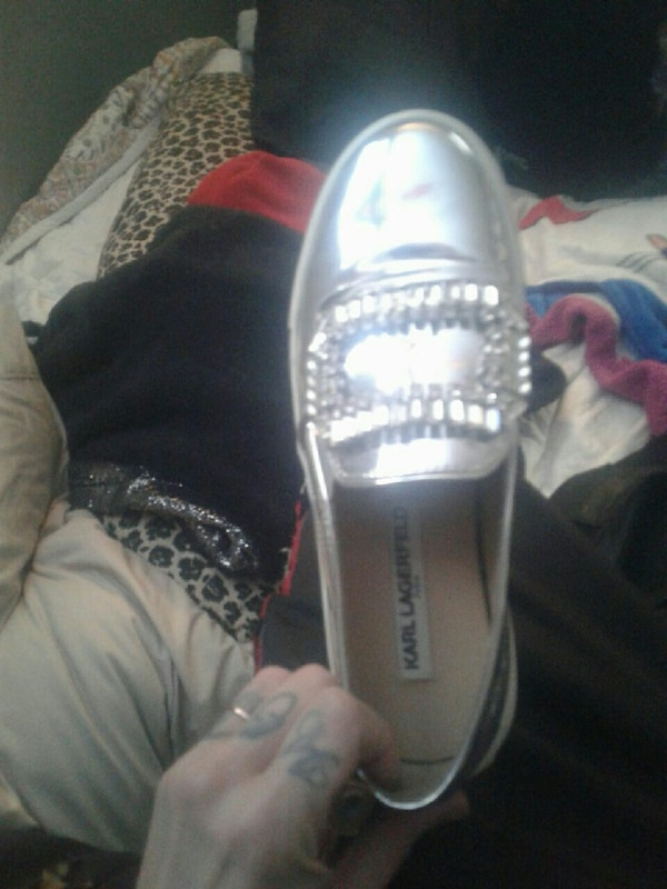 422ebd34a0a Used unpaired silver-colored karl Lagerfeld loafer for sale in Edmonton -  letgo