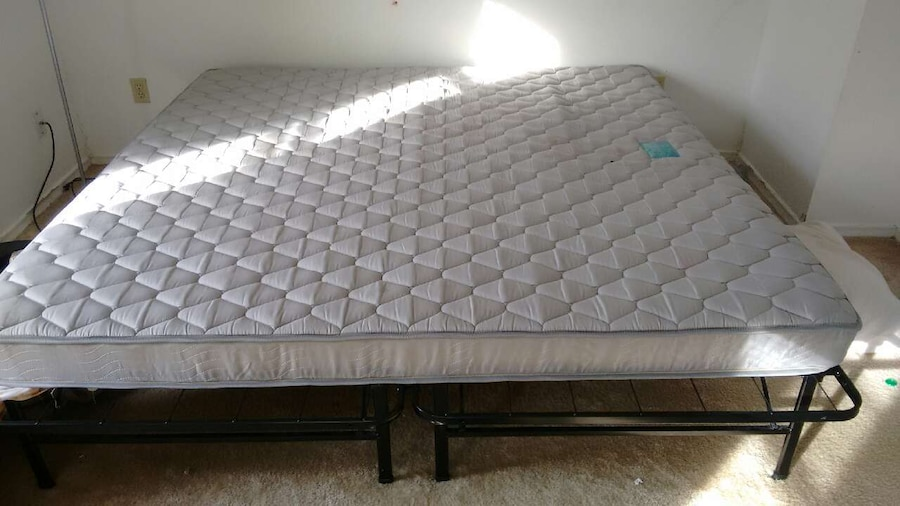 letgo King mattress with metal fame in Wilson CT