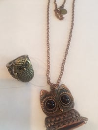 Set of Owl necklace and ring .. Vancouver, V6H 1S7