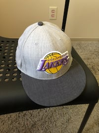 gray and black Los Angeles Lakers flat-brimmed cap