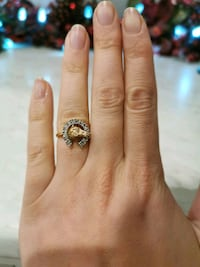 14k gold horse with diamonds ring