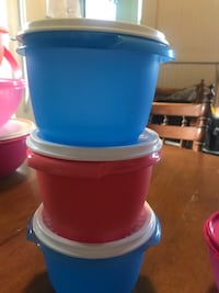 two blue and red plastic containers with lid