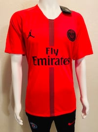 red and white adidas Fly Emirates jersey shirt Moreno Valley, 92553