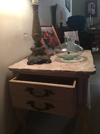 Lifht wooden table with marmol top - 1 drawer South Miami, 33143