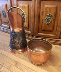 Vintage copper, black & brass umbrella stand. Smaller pot too!!See more info!! null, L3B