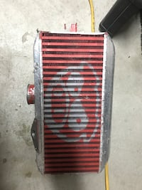 red and gray car radiator