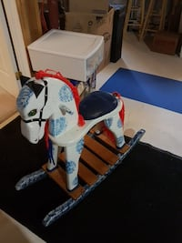 Children's white, black, and red wooden rocking horse Richmond Hill, L4S 2G7