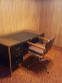 brown wooden single pedestal desk Albuquerque, 87110