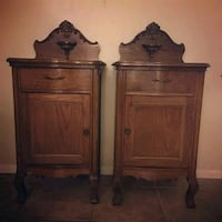 Antique French tiger oak pair maching end tables Lynwood, 90262