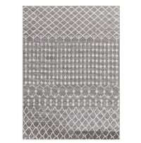 Moroccan Style Rug Grey & White Unique On-Trend Pattern Beautiful Woven Modern Near-New Woven Carpet New Haven