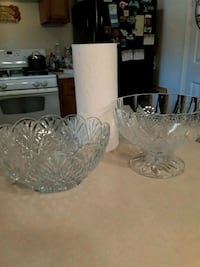 TWO  HEAVY CRYSTAL FRUIT BOWLS NO CHIP ,CRACKS