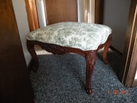 2 Vintage Carved Wood and Toile Upholstered Benches Lakeland