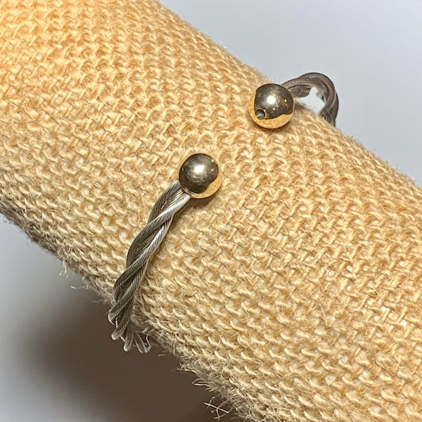 Classic Cable Cuff Bracelet with Solid 14k Yellow Gold Balls 3d26b54e-0beb-487d-8153-30a331ca4c4b