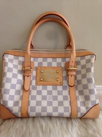 Damier Azur Louis Vuitton leather tote bag