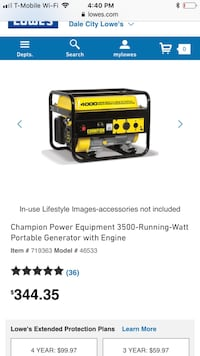 Generator bought at Lowe's only started twice never actually used may change my mind so buy it now come start it etc. Woodbridge, 22191