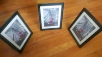three roller coaster painting with black frames