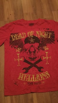 red, black, and beige Dead of Night Hellions crew neck top
