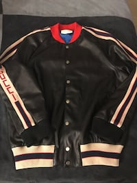 Gucci Leather bomber jacket with appliqué