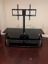 Used Black Glass Top Tv Stand With Mount For Sale In Gold River Letgo