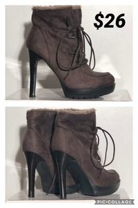 pair of gray suede moc toe stiletto booties collage North Vancouver, V7H 0A6