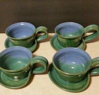 4 clay blue/green pottery cups w/saucers attached New Albany, 47150