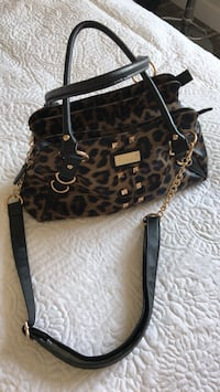 black and brown leopard print leather tote bag Coaldale, T1M 1G8