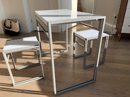 Dining Table Set Includes 1 Table and 2 Matching Stools