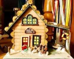 Ice fishing cabin, Christmas town decoration