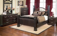 Queen Bedroom set-dresser, chest, bed frame, floor lamp. Milton, L9E