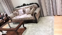 Brown wooden framed white padded couch Brampton, L6P 3R2