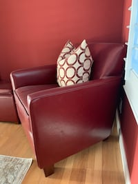 Cute Red Leather Chair with Matching Ottoman (pillow included) Newark, 94560