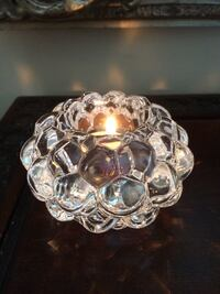 Orrefors Rasberry Crystal Tealite Candle Holder