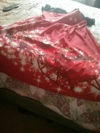 women's red and white Santa Claus on sleigh print dress