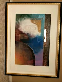 Framed Abstract mixed media artwork Independence, 64055