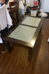 Solid wood smoked glass coffee table