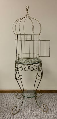 Designer Brass Bird Cage & Accent Table