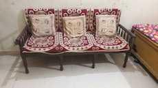 red and white floral 3-seat sofa