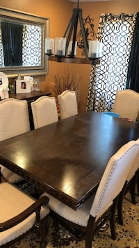 rectangular brown wooden dining table with chairs set Freeport, 11520