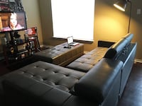 GREY leather sectional sofa with ottoman 1205 mi