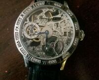 round silver chronograph watch with black leather strap Gaithersburg, 20886