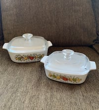 2 CorningWare Dishes w/ Pyrex Lids--Spice of Life